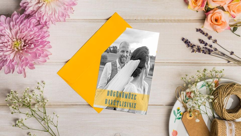 Resimli düğün davetiyesi